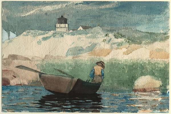 Painting - Winslow Homer American  1836-1910 Boy In Boat, Gloucester  1880 by Artistic Panda