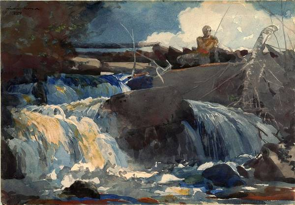Painting - Winslow Homer   Casting In The Falls 1889 13 by Artistic Panda