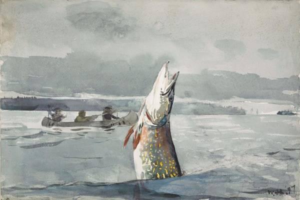 Painting - Winslow Homer   Pike  Lake St  John 189 7 by Artistic Panda