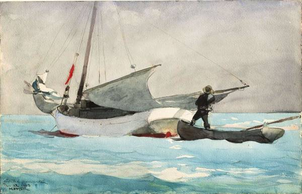 Painting - Winslow Homer - Stowing Sail by Artistic Panda