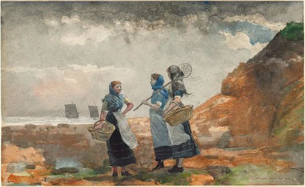 Painting - Winslow Homer - Three Fisher Girls  Tynemouth  1881 by Artistic Panda