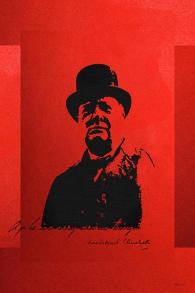 Digital Art - Winston Churchill - A Joke Is A Very Serious Thing by Serge Averbukh