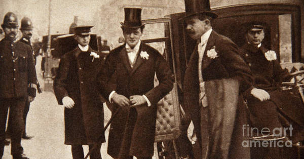 Wall Art - Photograph - Winston Churchill Arriving At The Doors Of St Margaret's, Westminster On His Wedding Day, 1908 by English School