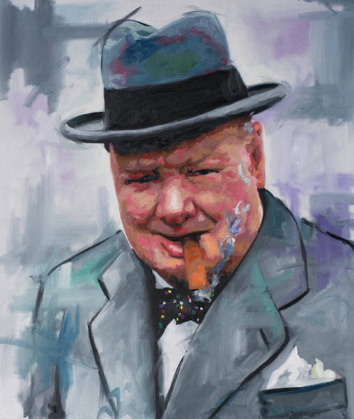 Historical Figure Painting - Winston Churchill Cigar by Richard Day