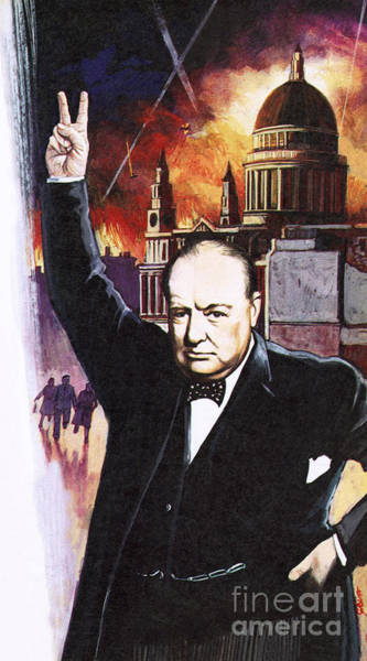 Wall Art - Painting - Winston Churchill During The Blitz by English School