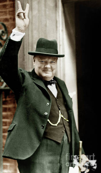 Wall Art - Photograph - Winston Churchill, English Prime Minister, Making The Victory Gesture In Front Of 10 Downing Street  by English School