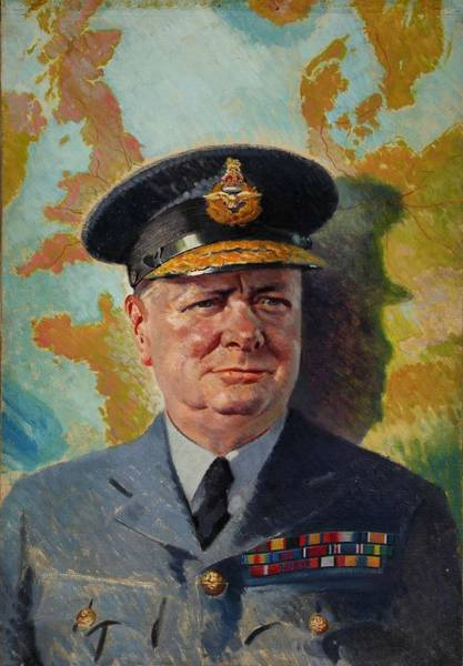 Clock Face Painting - Winston Churchill In Raf Uniform 1939-1946 by Celestial Images