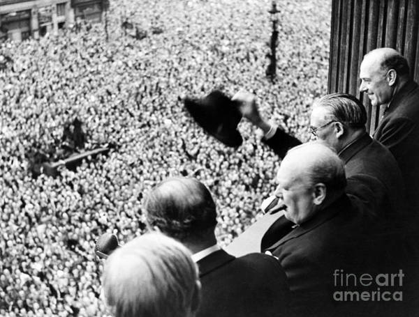 Wall Art - Photograph - Winston Churchill Looking Out Over Crowds Celebrating The End Of The Second World War by English School