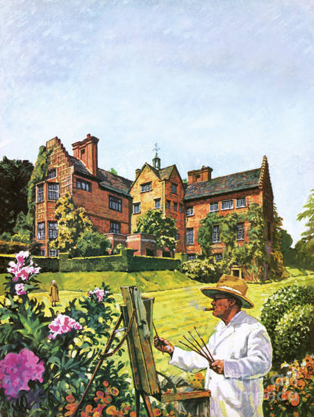 Wall Art - Painting - Winston Churchill Painting At Chartwell by Harry Green