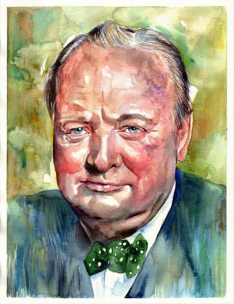 Cigar Painting - Winston Churchill Portrait by Suzann Sines