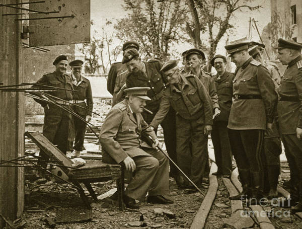 Wall Art - Photograph - Winston Churchill Sits On A Broken Chair That Hitler May Have Sat On by English School
