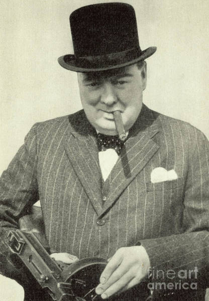 Cigar Photograph - Winston Churchill With Machine Gun, Cigar And Hat, Ww2 Propaganda Image by English School