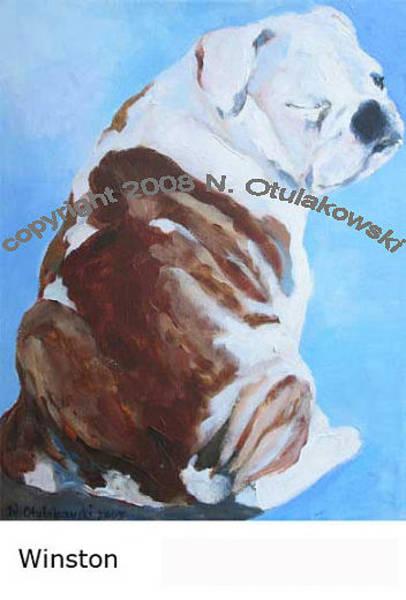 English Bulldog Painting - Winston by Nina Otulakowski