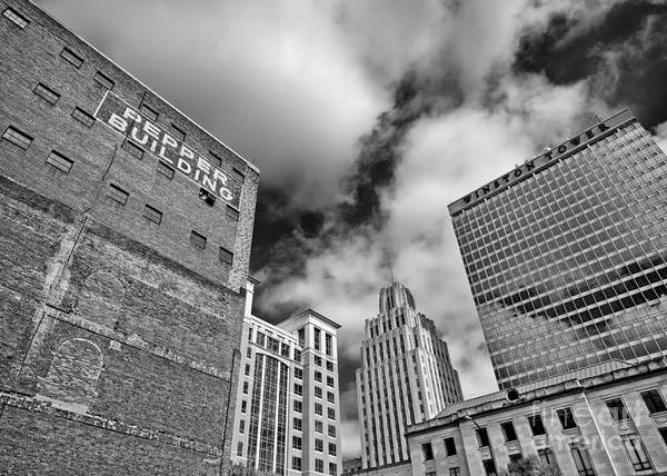 Photograph - Winston Salem Buildings Bw by Patrick M Lynch