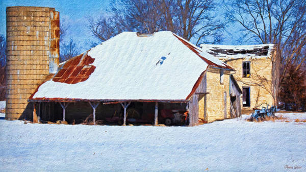 Photograph - Winter Abandoned Farmstead by Anna Louise