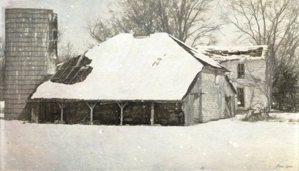Photograph - Winter Abandoned Farmstead Sketch by Anna Louise
