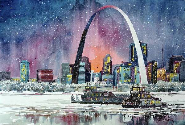 St Louis Arch Painting - Winter Arch by Marilynne Bradley