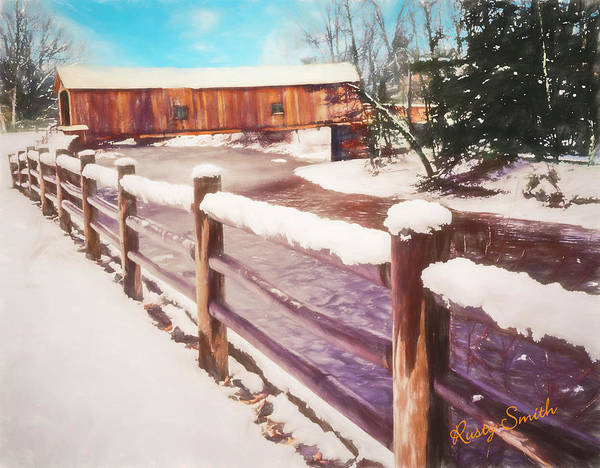 Digital Art - Winter At A Connecticut Covered Bridge. by Rusty R Smith