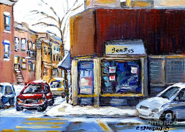Painting - Winter At Beauty's Restaurant City Scene Landmark Paintings Montreal Memories Exceptional Canada Art by Carole Spandau