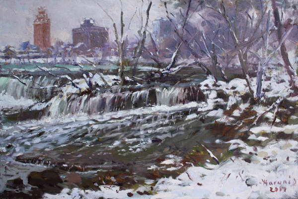 Office Buildings Wall Art - Painting - Winter At Goat Island by Ylli Haruni