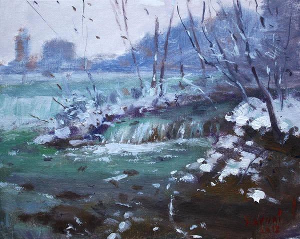Wall Art - Painting - Winter At Niagara River by Ylli Haruni