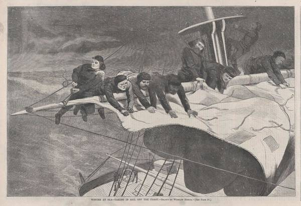 Painting - Winter At Sea    Taking In Sail Off The Coast, By Winslow Homer   1836  1910 by Artistic Panda