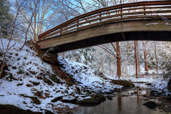 Photograph - Winter At The Botanical Garden Bridge Asheville North Carolina by Carol Montoya