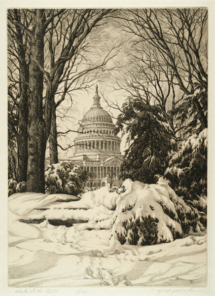 Wall Art - Painting - Winter At The Capitol by Ronau William Woiceske