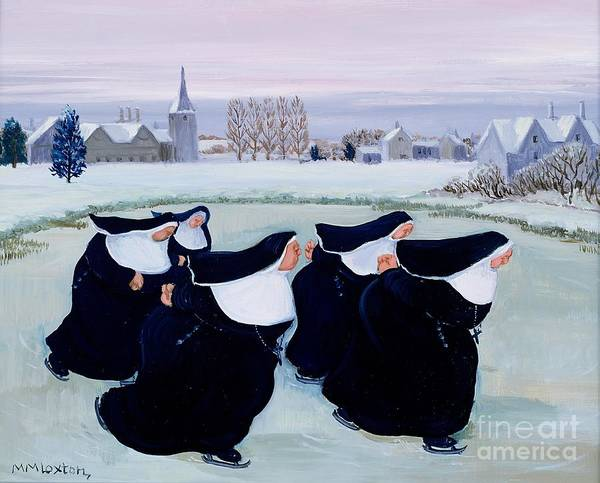 Skating Painting - Winter At The Convent by Margaret Loxton