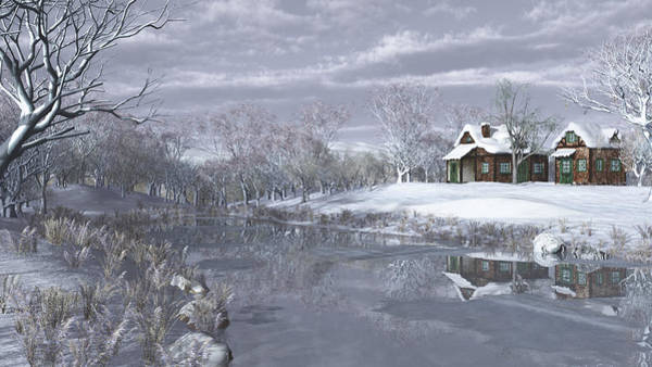Frozen Lake Digital Art - Winter At The Lake by Jayne Wilson