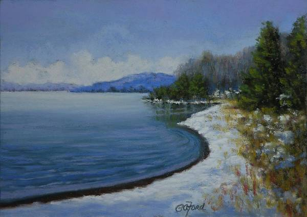Wall Art - Painting - Winter At The Lake by Paula Ann Ford