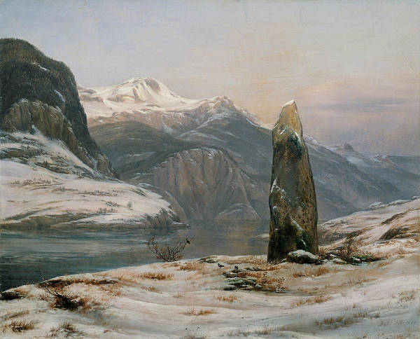 Painting - Winter At The Sognefjord by Johan Christian Dahl