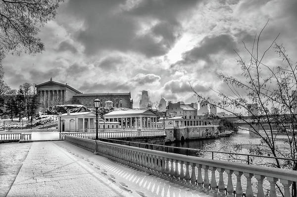 Photograph - Winter At The Waterworks And Art Museum - Black And White by Bill Cannon