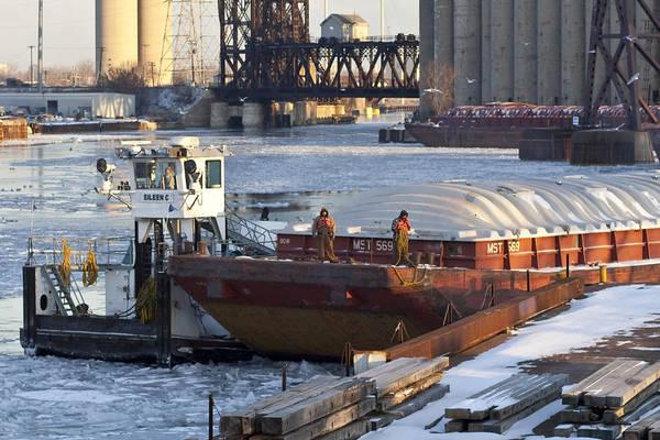 Photograph - Winter Barge Workers by Sven Brogren