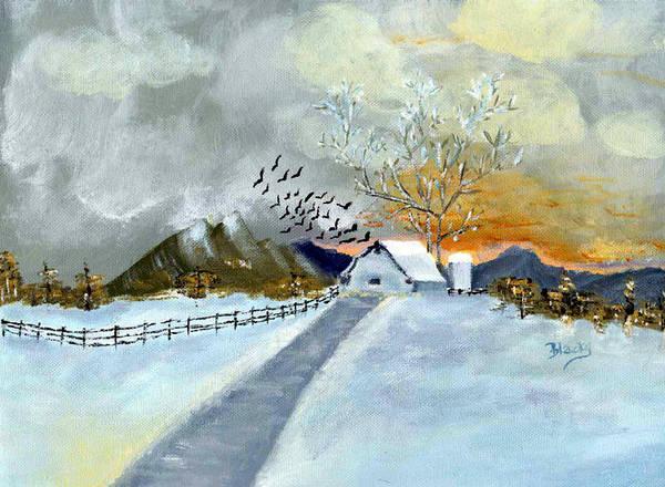 Barn Snow Painting - Winter Barn by Donna Blackhall