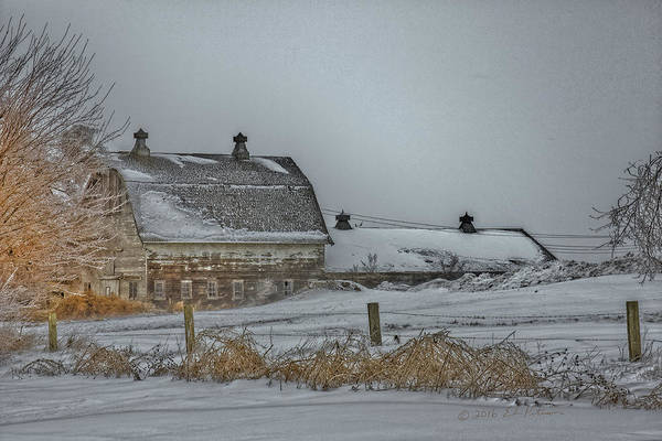 Photograph - Winter Barn by Edward Peterson