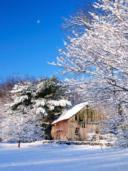Winter Barn Scene-warren Ct Art Print
