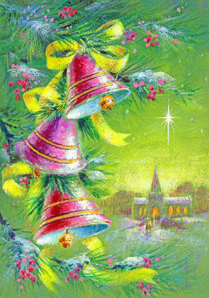 Kitsch Painting - Winter Bells by Stanley Cooke