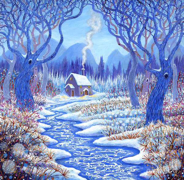 Snow Bank Painting - Winter Berries by David Newton