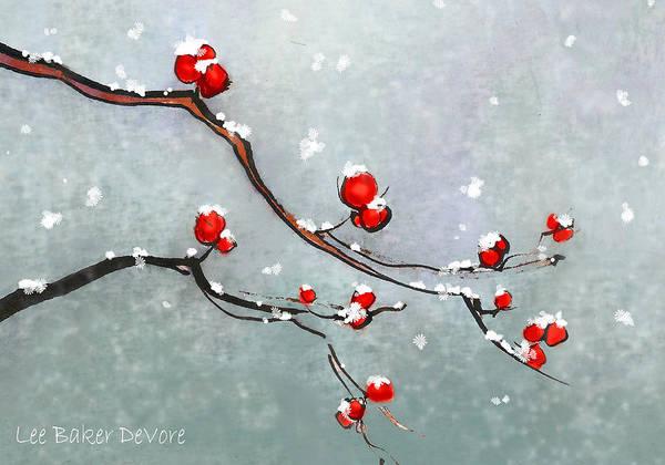 Wall Art - Painting - Winter Berries by Lee Baker DeVore