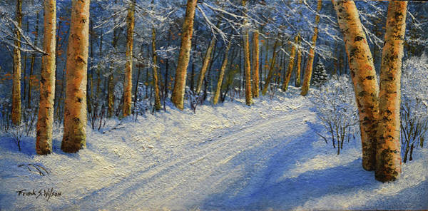 Wall Art - Painting - Winter Birch Road by Frank Wilson