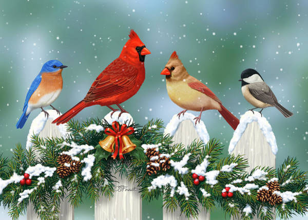 White Picket Fence Painting - Winter Birds And Christmas Garland by Crista Forest