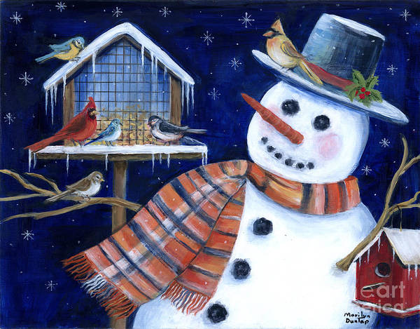 Birdhouse Painting - Winter Birds Delight by Marilyn Dunlap