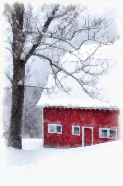 Barn Snow Painting - Winter Blanket Of Snow On The Farm by Edward Fielding