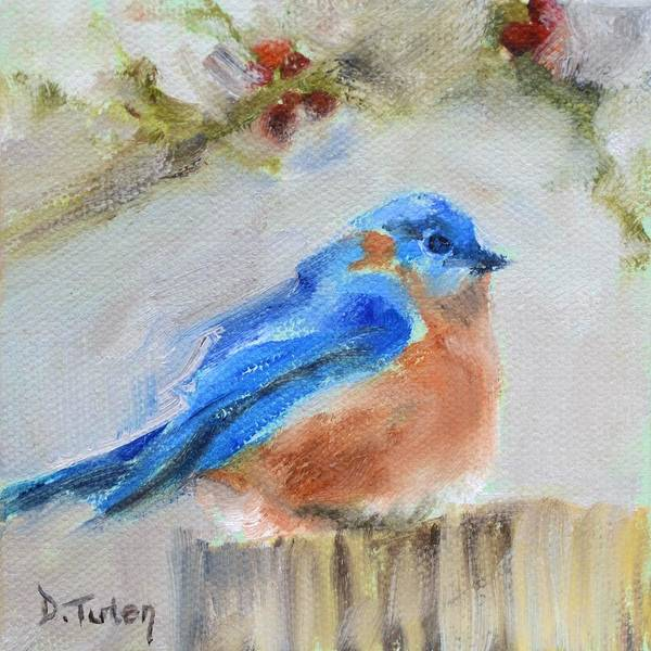 Painting - Winter Bluebird by Donna Tuten