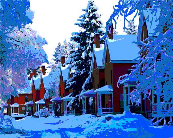 Spokane Digital Art - Winter Blues In Spokane by Ben Upham III