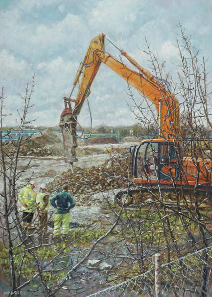 Painting - Winter Building Site Breaker by Martin Davey