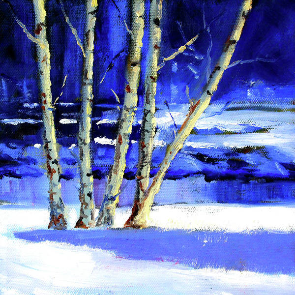 Wall Art - Painting - Winter By The River by Nancy Merkle