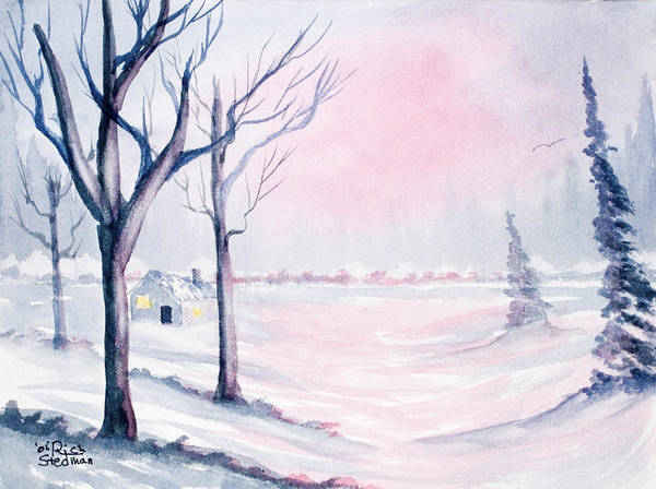 Painting - Winter Cabin by Rich Stedman