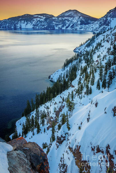 Crater Lake Photograph - Winter Caldera by Inge Johnsson